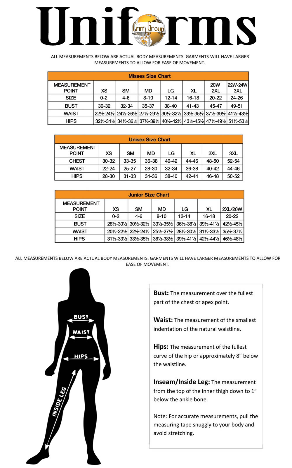 Crim Uniform Size Chart